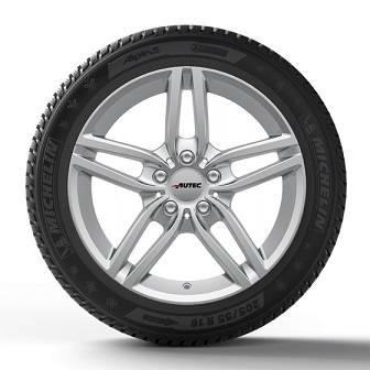 Winterkomplettrad silber BMW 3er E90 Autec Kitano 7x16 5x120 ET 31 + 205/55R16 91H Continental TS 860